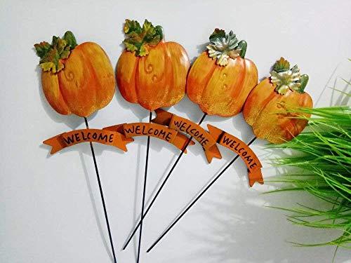 4Pcs Metal Cut Pumpkin Plant Stake Garden Outdoor