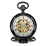 KTC Vintage Gunmetal Color Hand-Wind Mechanical Transparent Dial Classic Style Pocket Watch ORK-P-0015