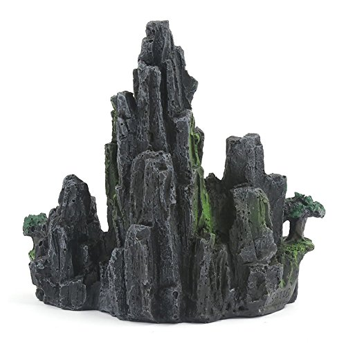 - guohanfsh Fashion Fish Tortoise Tank Aquarium Artificial Hill Landscape Resin Ornament (1Pcs) Black