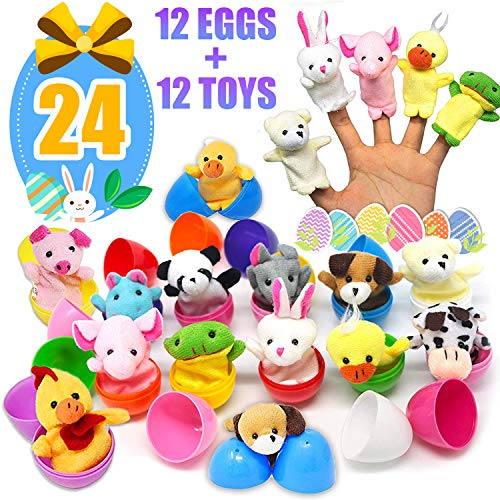 (Kidaily Easter Basket Stuffers Eggs - 12 Piece Animal Finger Puppets Set 12 Pcs Colorful Plastic Easter Eggs Filled Toy Inside, Surprise Egg Plush Bunny Story Time Hand Puppets for Children - 24 Pack)