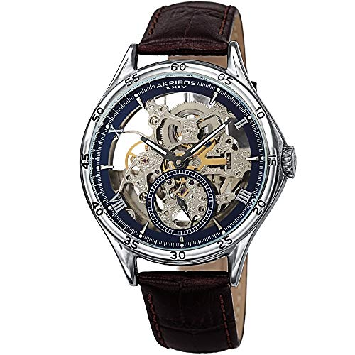 Akribos Xxiv Mens Automatic Watch - Father's Day Gift - Akribos XXIV Designer Skeleton Men's Watch - Brown Leather Embossed Crocodile Band - Automatic Mechanical Wristwatch with See Through Dial - AK1066SSBR