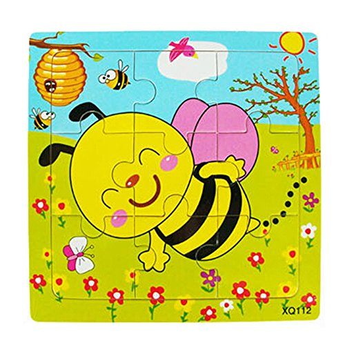 Floralby Jigsaw Puzzle Toy Toddler Kids Colorful Wooden Early Educational Toy Gift ()