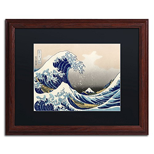 The Great Kanagawa Wave Wood Framed Artwork by Katsushika Hokusai, 16 by 20-Inch, Black Matte
