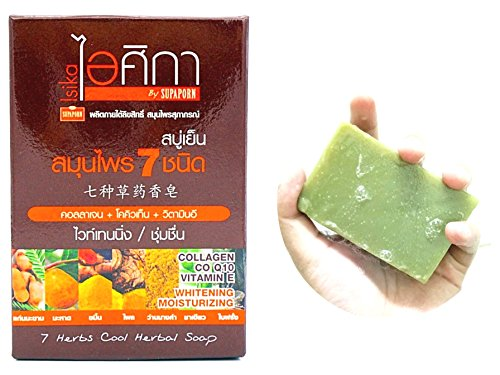 Peach Exfoliating Soap (ISIKA 7 herbs Cool Herbal Soap with Collagen CO Q10 Vitamin E Moisturizing , Aroma Fresh and Relax 100 grams)