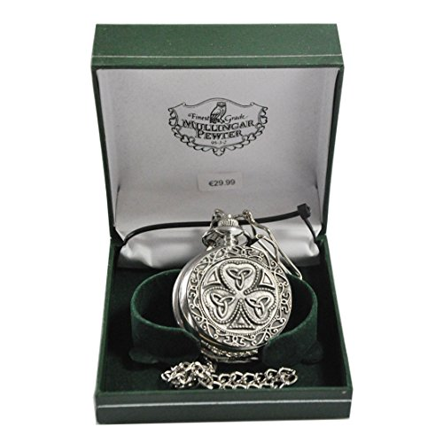 Mullingar Pewter Pocket Watch With Shamrock And Trinity Design And Celtic ()