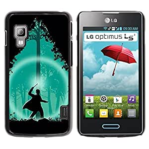 GOODTHINGS Funda Imagen Diseño Carcasa Tapa Trasera Negro Cover Skin Case para LG Optimus L5 II Dual E455 E460 - asistente verde noche bosque silueta