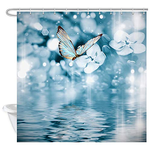 Flower Shower Curtain Spa Decor, Floral and Butterflies On Water at Dark Blue Romantic Wallpaper Bath Curtains, Waterproof Fabric Spring Shower Curtain for Bathroom 12PCS Hooks, 69X70 in Royal Blue (Fields Valance Floral)