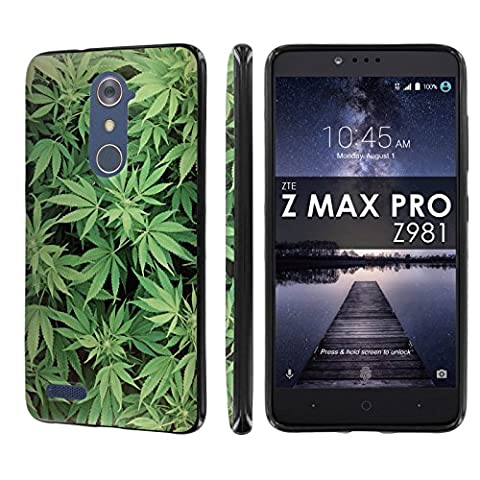 ZTE [ZMAX PRO] [Carry Z981] [NakedShield] [Black] Ultra Slim Cover Case - [Marijuana Background] for ZTE [ZMAX (Zte Zmax Phone Case Marijuana)