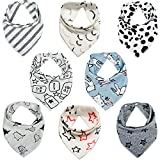 Lekebaby Baby Bandana Dribble Bibs Drool Bibs for Boys Unisex, Pack of 8