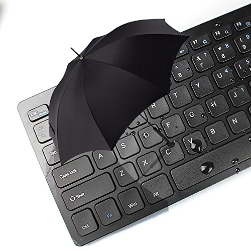 Ultra Thin Wireless Keyboard and Mouse Compact 2.4GHZ Wide Compatibility Black