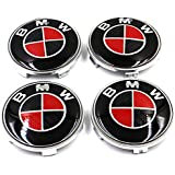 4Pcs B-M-W Wheel Center Caps Emblem, 68mm B M W Rim Center Hub Caps for All Models with B M W Wheels Logo Red & Black…