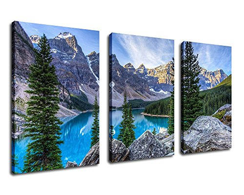 Canvas Wall Art Mountain and Lake Canvas Painting Nature Pictures 30