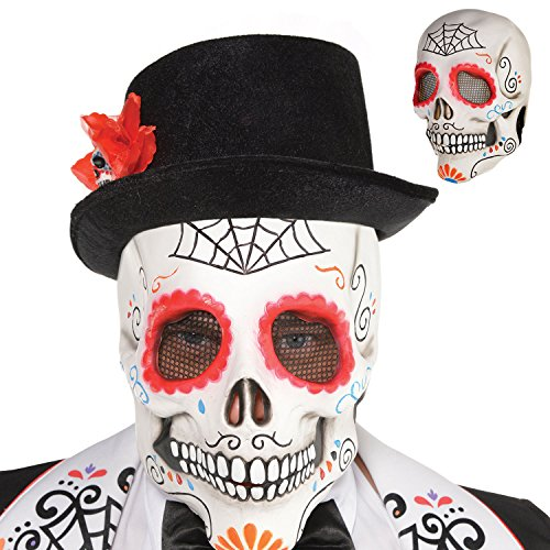 Amscan 8400119-55 Day of The Dead Sugar Skull Full Head Mask