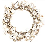 Silvercloud Trading Co. Real Cotton and Husk Wreath – 16″-24″ – Adjustable Stems – Farmhouse Decor Great for Front Door – Wedding Centerpiece