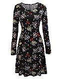 Meaneor Women Cute Dog Print Long Sleeve A Line Pullover Christmas Dress Black_M