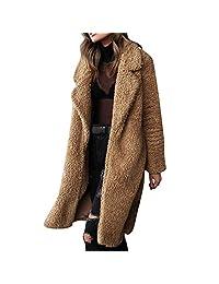 kingfansion Women Warm Teddy Bear Pocket Fleece Jackets Coat Open Overcoat
