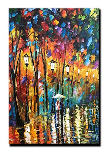 Diathou 24x36Inch Vertical 100% Hand Painted Oil Paintings Colorful Palette Knife Abstract Art Romantic Couple with Umbrella Walking in The Rain Modern Home ()