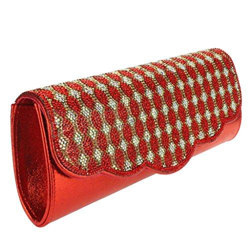 Mujer Señoras Diamante Colgajo curvo Brillante metálico Sobre Noche Fiesta Boda Nupcial Paseo Cristal Embrague Bolso Rojo