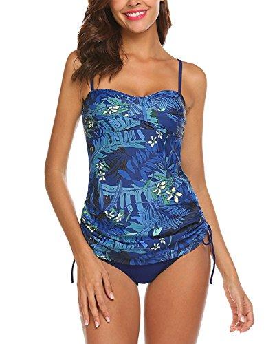 Sweetheart Tankini Top - joyliveCY Women Sweetheart Neckline Swimsuit Bathing Suit Wrap Two Piece Tankini Navy Blue Swimwear Beachwear Blue Medium