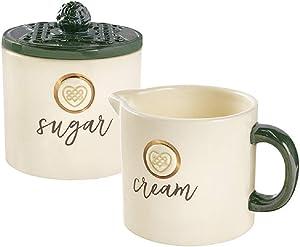 Grasslands Road Sugar Bowl and Creamer Set - Holds 8 Ounces, Material Ceramic