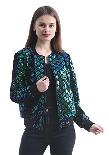 Jacket Sparkle Sequin - Women's Stretchy Sparkle Sequin Bomber Jacket with Zipper Placket for Spring Fall Green 8