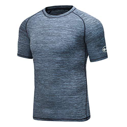 JJLIKER Men's Dry Fit Athletic T-Shirt Crewneck Short Sleeve Tees Performance Active Athletic Tops Compression Baselayer Blue