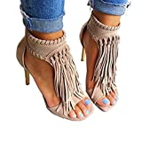 Huiyuzhi Womens Open Toe Fringe Tassel Sandal High Heel Pump Sandal (6 B(m) Us, Apricot) | amazon.com