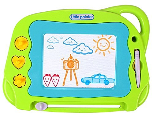 Magnetic Drawing Board Mini Travel Doodle, Erasable Writing Sketch Colorful Pad Area Educational Learning Toy for Kid / Toddlers/ Babies with 3 Stamps and 1 Pen (Green)