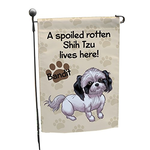 GiftsForYouNow Personalized Shih Tzu Spoiled Here Double Sided Garden Flag, Polyester