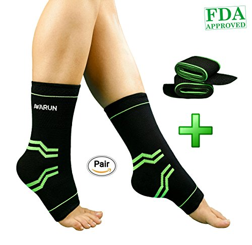 AVARUN Ankle braces compression support sleeves with ankle wrap braces- Elastic Plantar Fasciitis Foot Ankle Socks for Injury Recovery Basketball