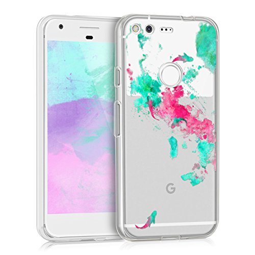 kwmobile Crystal TPU Silicone Case for Google Pixel in Design watercolor koi turquoise dark pink transparent