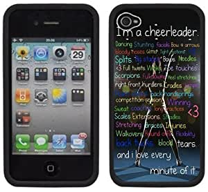 Cheerleader Cheerleading Handmade iPhone 4 4S Black Hard Plastic Case