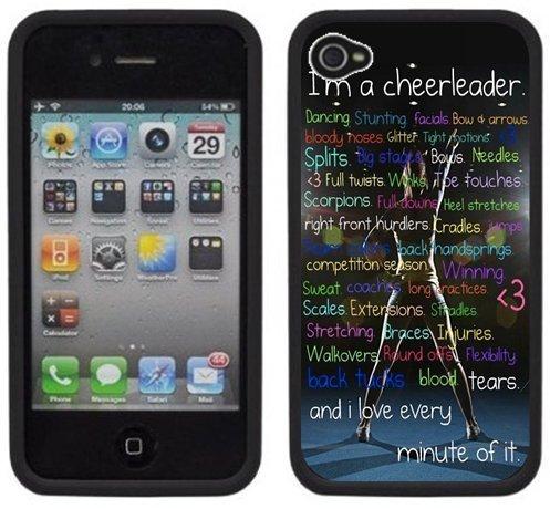 Cheerleader Cheerleading Handmade iPhone 4 4S Black Hard Plastic Case -