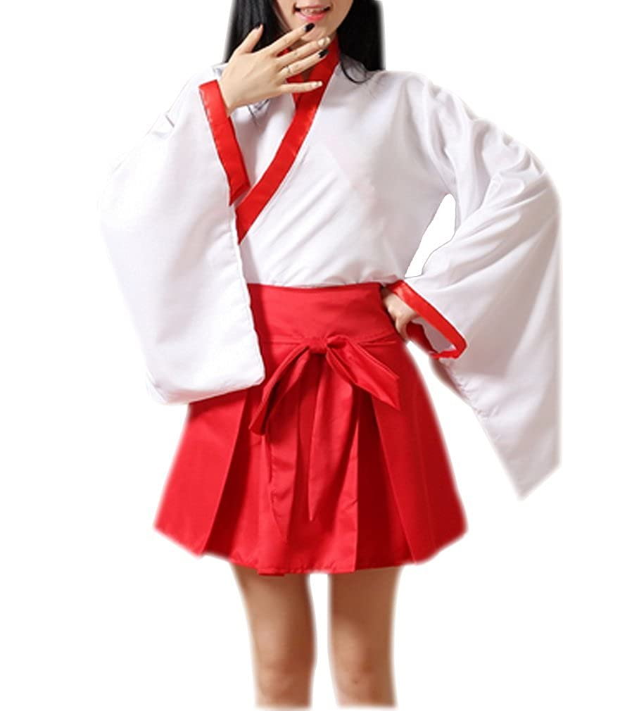 YueLian Women's Japanese Cosplay Kimono Tops Dress Set