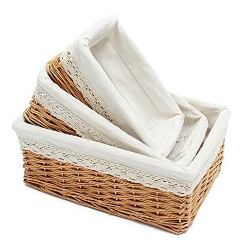 Storage Baskets - Multipurpose Rectangular Wicker Storage Basket With Removable Washable Liner Willow Woven Containers - Towels Garage Rustic Cube Diaper Small Modern Hand Hang Room Girls Dolla