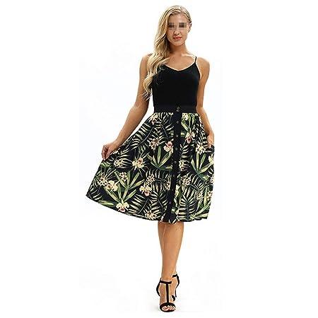 Vestido - Cóctel 50s Elegante Mujer Cinturón Impresión Digital ...