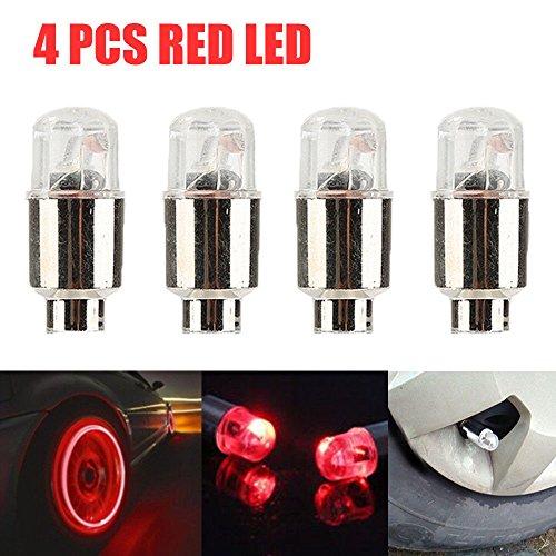 FidgetFidget Tire Air Valve Stem Cap Universal 4 X Red LED Autos Wheel Tyre LED Light Lamp