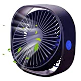 Ablon Small Personal Desk USB Fan,3 Speed Mini Portable Table Fans with USB Rechargeable, Quiet Fan for Home,Office,Outdoor Travel(Navy Blue)