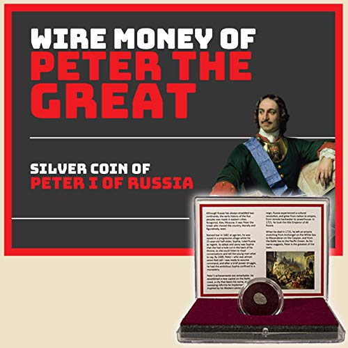 WIRE MONEY OF PETER THE GREAT - Russian Silver Kopek Coin in Clear Box with Story Card & Certificate of Authenticity - GENUINE ANTIQUE SILVER COIN ISSUED UNDER PETER THE GREAT! ()