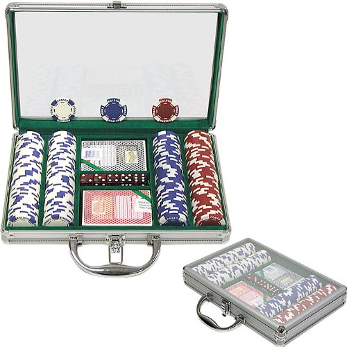 Trademark Poker 200 Holdem Poker Chip Set with Clear Cover Aluminum Case, (Denomination Chips)