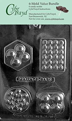 CybrTrayd M170-6BUNDLE 4 Shape Massage Bar Chocolate Candy Mold with Exclusive Copyrighted Chocolate Molding Instructions