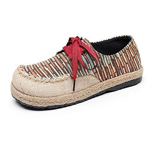 Zapatos de Mujer Spring Fall New Low-Top Shoes Zapatos de Lona con Punta Redondeada Academy Canvas Zapatos de Cordones con Cordones y Transpirables B