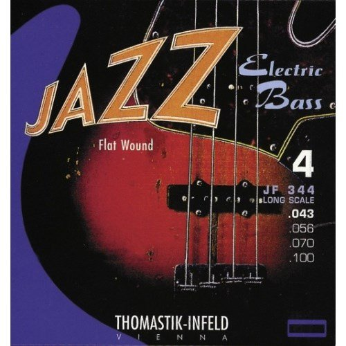 Thomastik-Infeld JF344 Bass Guitar Strings: Jazz Flat Wounds 4-String Long Scale Set; Pure Nickel Flats G, D, A, E Set (Long Scale)