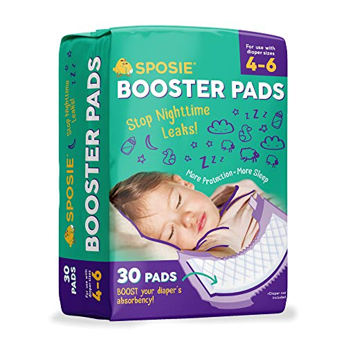 Sposie Booster Pads Diaper Doublers, 30 Pads – for Overnight Diaper Leaks, No Adhesive for Easy repositioning, Fits…
