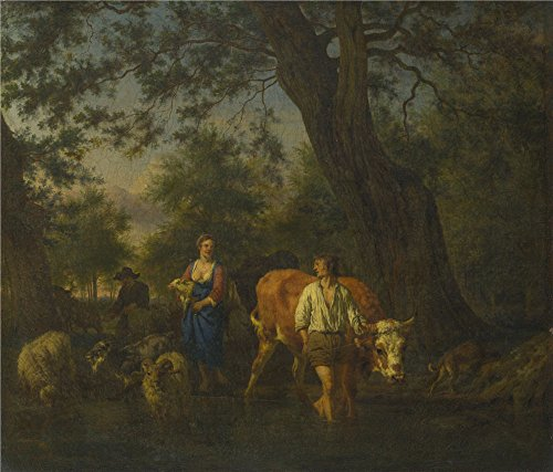 oil-painting-adriaen-van-de-velde-peasants-with-cattle-fording-a-streamabout-1662-16-x-19-inch-41-x-