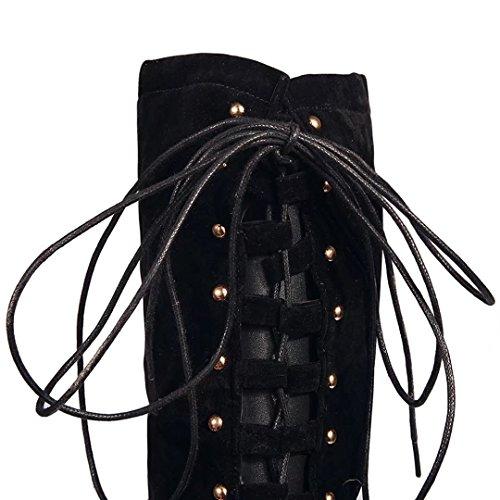 AIYOUMEI Damen Stiletto Overknee Stiefel mit 9cm Absatz und Schnürung Elegant Langschaftstiefel Schuhe Schwarz