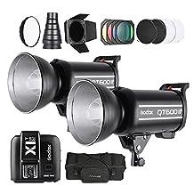 Andoer Studio Light Photography Kit Set with 2 * Godox 600W Strobe Flash + Wireless Trigger Transmitter + Softbox + Barn Door Kit + 2 * Diffuser Plate + Carrying Bag for Nikon DSLR Cameras
