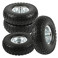 go2buy 4-Pack 10 Inch Solid Rubber Tyre Wheels Garden Wagon Cart Trolley Tires Replacement Wheels Black
