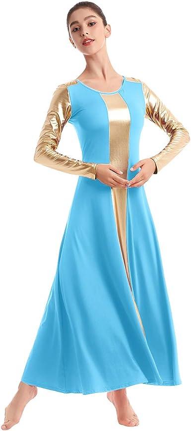 IBAKOM Liturgical Praise Dance Worship Long Dress for Women Metallic Gold Color Block Loose Fit Full Length Church Dancewear