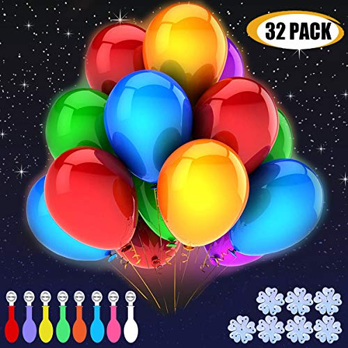 32 Pack Light Up Balloons Party LED Balloons Fun time, 8 Colors Balloon, Colorful Warm Light, Lasts 12-24 Hours for Birthday, Wedding, Parties, 7 Blossom Clips & Ribbon Included. -